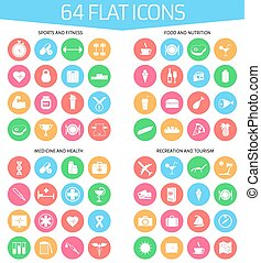 Web icons set of 64 flat icons: sports and fitness, medicine...