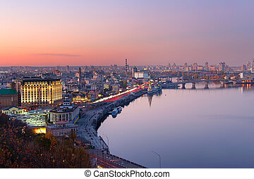 Kiev aerial skyline, Ukraine - Aerial view of Kyiv with...