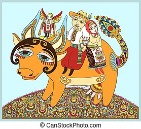 authentic ukrainian traditional painting men and women ride...