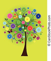 flower tree with colored butterflies