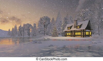 Rustic house and christmas tree - Dreamlike winter scene....