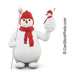 Snowman isolated on white background. 3d.