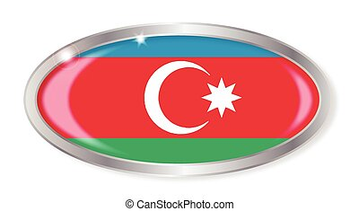 Azerbaijan Flag Oval Button