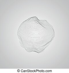 3D illuminated distorted sphere of wireframe Futuristic...