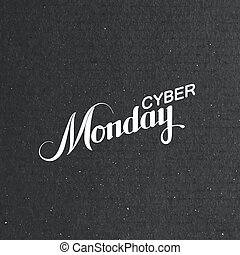 Cyber Monday Sale label on the cardboard texture Promotional...