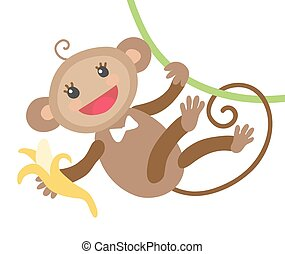 Cute monkey with banana isolated on a white background