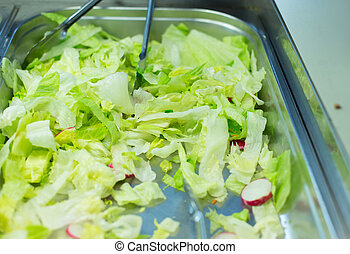 close up of romaine lettuce salad in container - food,...