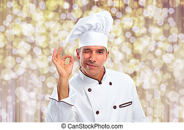 Chef man - Handsome Chef man over abstract Christmas...