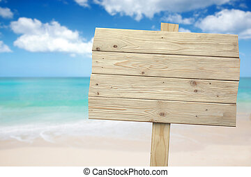 Vintage rustic wooden sign on the beach - A portrait of a...