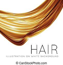 Closeup of long human hair with tilt shift effects. Vector...