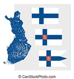 Map of Finland with lakes and rivers and three Finnish flags...