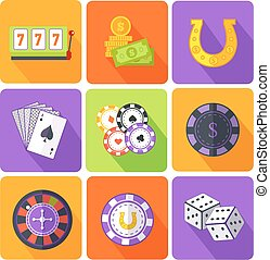 Set of Icons Gambling Games Flat Style
