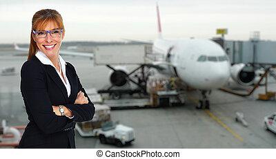 Beautiful stewardess lady. - Beautiful smiling stewardess...