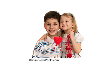Have a great St Valentines day - Children are holding...