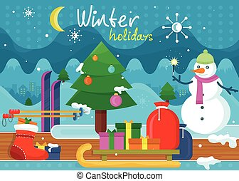 Winter Holidays Concept Design - Winter holidays concept...