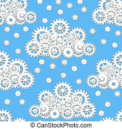 Mechanical gears cloud - Seamless pattern with mechanical...