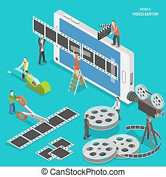 Mobile video editor flat isometric vector concept. People...