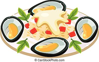 Mussels with Noodels on a Dish. Vector Illustration - Tasty...