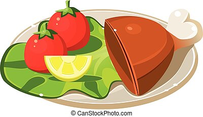 Breakfast Plate with Ham, Lettuce and Tomatos. Vector Illustration