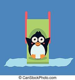 Penguin Riding a Roller Coaster Vector Illustartion - Cute...