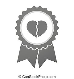 Vector badge icon with a broken heart - Illustration of an...