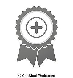 Vector badge icon with a sum sign - Illustration of an...