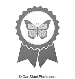 Vector badge icon with a butterfly