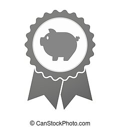 Vector badge icon with a pig