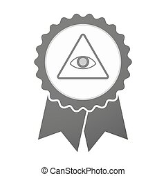 Vector badge icon with an all seeing eye - Illustration of...