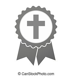 Vector badge icon with a christian cross