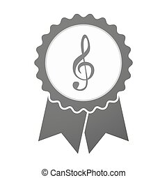 Vector badge icon with a g clef - Illustration of an...