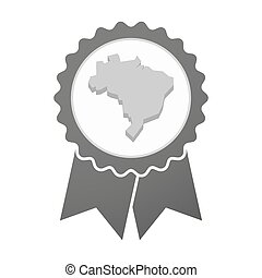 Vector badge icon with  a map of Brazil