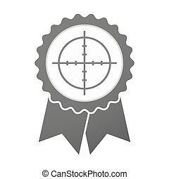 Vector badge icon with a crosshair - Illustration of an...