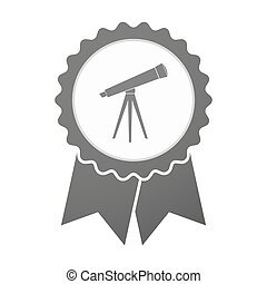 Vector badge icon with a telescope
