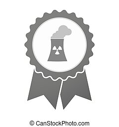 Vector badge icon with a nuclear power station -...