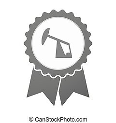 Vector badge icon with a horsehead pump - Illustration of an...