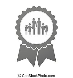 Vector badge icon with a large family pictogram -...