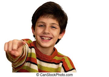 Pointing forward boy - A happy boy is pointing forward