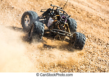 RC buggy in the desert, summer day