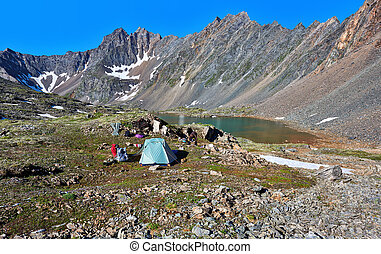 Resting place of tourists in the Siberian highlands Sayan...