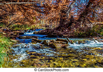 Guadalupe River, Texas - Beautiful Fall Foliage Surrounding...