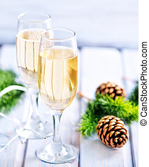 Two Champagne Glass on the wooden table