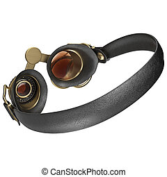 Glasses with round lenses steampunk, back view 3D graphic...