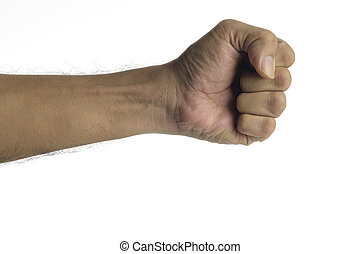 Knockout - High resolution image of human fist against white...