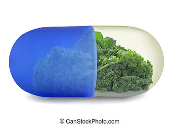 Kale superfoods vitamin pill concept