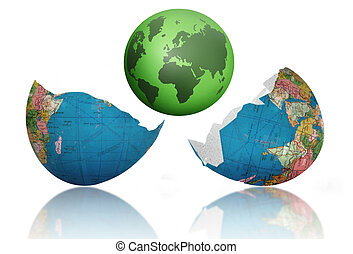 New world born - Green earth emerging from cracked egg shell...