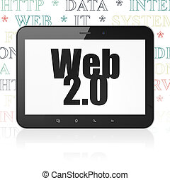 Web design concept: Tablet Computer with Web 20 on display -...