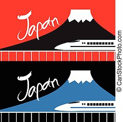 Japan fuji mountain and high speed rail