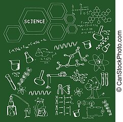 Hand drawn science on school board, Science doodles