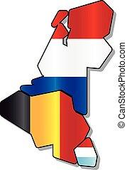 Benelux flag map